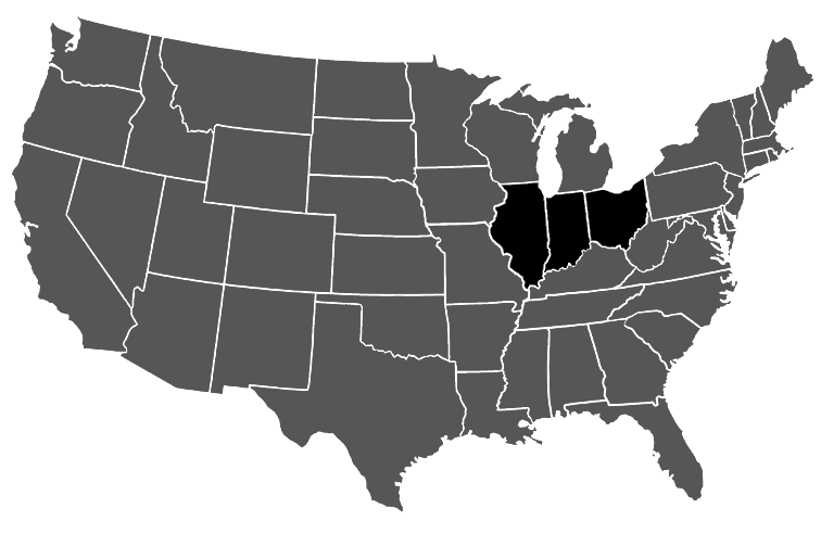 Workers Compensation Subrogation Ohio Illinois And Indiana - Indiana on the us map