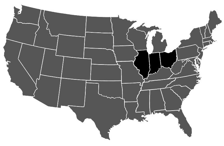 USA Map Highlight Indiana Illinois Ohio